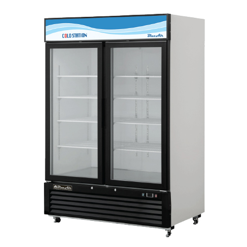 blue air shelved fridge